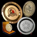 Custom Etched Brass Medallion Award Plate - 10