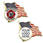 Custom American Flag Enamel Lapel Pin w/ Custom Logo