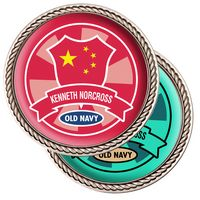 Challenge Coin Nickel w/ Rope Border - Full Color Imprint - 6 Day Production