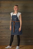 New Kitch Style Bib Apron - Denim With Leather