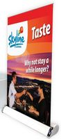 Mini Tabletop Retractable Polyester Banner w/Stand