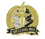 Custom Bright Gold Academic Spelling Bee Lapel Pin (1-1/8