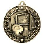 Custom Antique Hockey Wreath Award Medallion (2-3/4