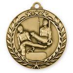 Custom Antique' Male Gymnastics Wreath Award Medallion (2-3/4