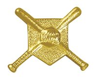 Crossed Bats Bright Gold Chenille Lapel Pin