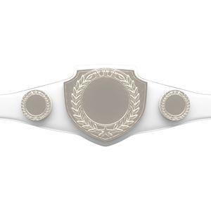 Custom Bright Shield Championship Belt in White