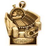 Custom Antique Gold Swimming Standup Medallion (3-1/2