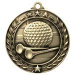 Antique Golf Wreath Award Medallion (2-3/4