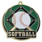 Custom Bright Gold Softball High Tech Medallion (2