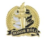 Custom Bright Gold Academic Honor Roll Lapel Pin (1-1/8
