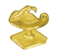 Lamp of Learning Bright Gold Chenille Lapel Pin