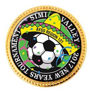 Custom Printed Soccer Stock Sports Lapel Pins