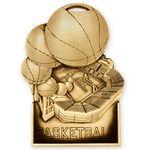Custom Antique Gold Basketball Standup Medallion (3-1/2