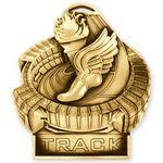 Custom Antique Gold Track Standup Medallion (3-1/2