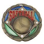 Custom Antique Softball Color Epoxy Medallion (2-1/2