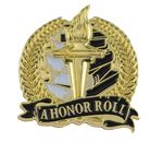 Custom Bright Gold Academic A Honor Roll Lapel Pin (1-1/8