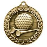 Antique Golf Wreath Award Medallion (1-3/4