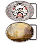 Custom Vibraprint Matte Oval Belt Buckle (3-3/4