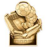 Custom Antique Gold Soccer Standup Medallion (3-1/2