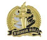 Custom Bright Gold Academic B Honor Roll Lapel Pin (1-1/8