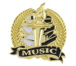 Custom Bright Gold Academic Music Lapel Pin (1-1/8