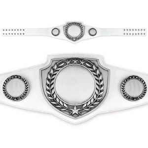 Custom Antique Shield Championship Belt in White