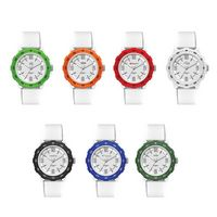 Unisex Sport Watch Colored Bezel with White Silicone Strap