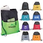 Custom Drawstring Sport Bag w/ Zip Pocket