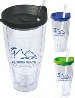 24 Oz. Double Wall Acrylic Cup with Straw