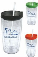 16 Oz. Clear Acrylic Double Wall Drink Cup with Straw