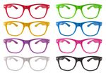 Vibrant Neon Color Wayfa-Voyager Glasses w/ Clear Lens