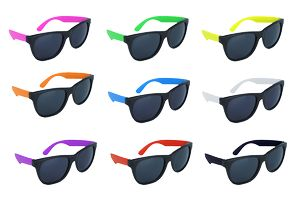 Black Frame Sunglasses w/Neon Temples