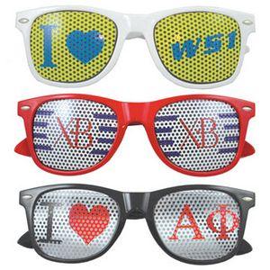 80's Style Sunglasses w/ Full Lens Imprint on Mesh Decal