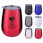 Custom 10 oz. Stainless Steel Wine Glass with Lid