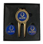 Custom Checkerboard Divot Tool Gift Set W/ Ball Markers & Money Clip