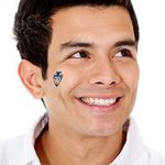 Small Blue Devil Temporary Tattoo