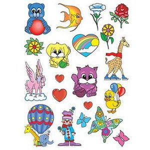 Happy Animals Kids Sheet of Temporary Tattoos - 6006 - IdeaStage ...
