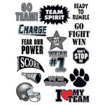 Go Team Black Set of Sports Temporary Tattoo