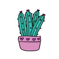 Tall Cactus in Heart Pot Temporary Tattoo