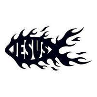 Flaming Jesus Fish Temporary Tattoo