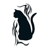 Black Cat with Tribal Design Temporary Tattoo
