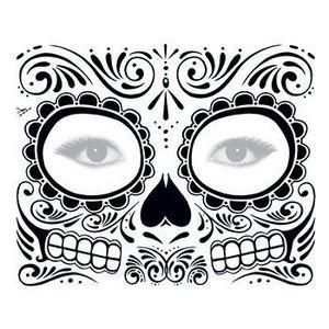 Day Of The Dead Black Skull Face Temporary Tattoo Dotd 03