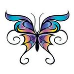 Custom Butterfly with Swirls Temporary Tattoo