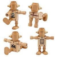 RoboDroidBot Poseable Wooden Robot Fidget Toy