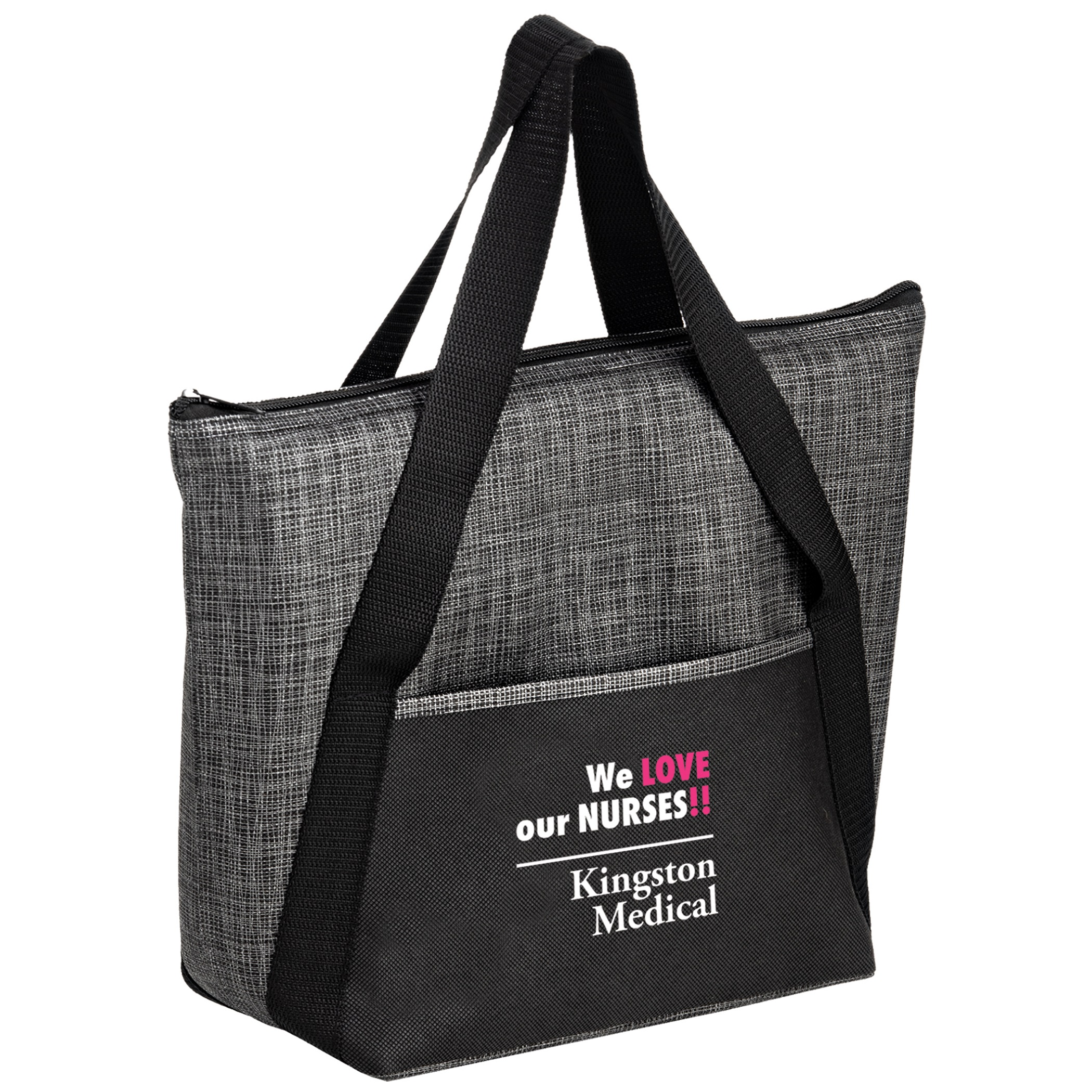 Insulated Tweed Look Non-Woven Tote w/Insert (14