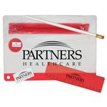 Custom Clear Translucent Pouch School Kit w/ Pencil, Ruler, Eraser & Sharpener