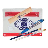 "Clear Translucent Pouch School Kit w/ 2 Pencils, 6"" Ruler, Pen & Sharpener (Spot Color)"