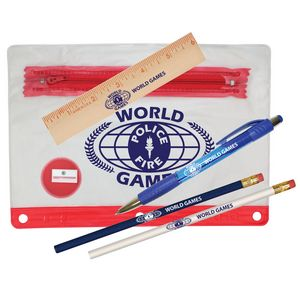 Clear Translucent Pouch School Kit w/ 2 Pencils, 6 Ruler, Pen & Sharpener (Spot Color)