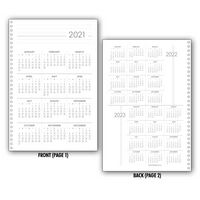 Planner Insert Set 3: 3 Years-In-View Single Sheet Calendar, Medium