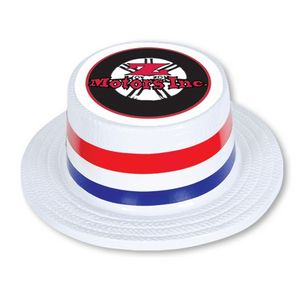 White Plastic Skimmer Hat w  Custom Digital Printed Band   Icon on Top -  66781IPC - IdeaStage Promotional Products 1eb1441ab45f